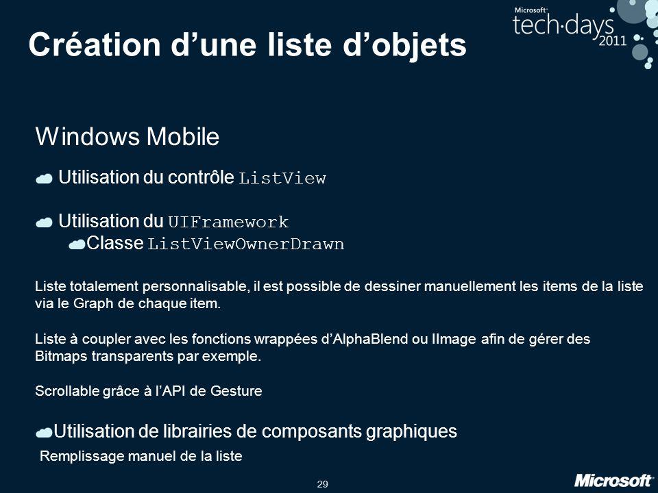 29 Création d'une liste d'objets Windows Mobile Utilisation du contrôle ListView Utilisation du UIFramework Classe ListViewOwnerDrawn Liste totalement