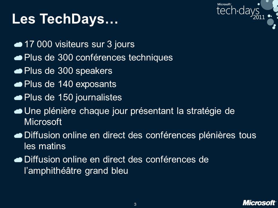 3 Les TechDays… 17 000 visiteurs sur 3 jours Plus de 300 conférences techniques Plus de 300 speakers Plus de 140 exposants Plus de 150 journalistes Un