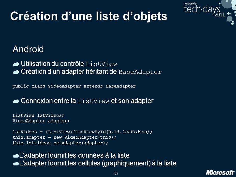 30 Création d'une liste d'objets Android Utilisation du contrôle ListView Création d'un adapter héritant de BaseAdapter public class VideoAdapter exte