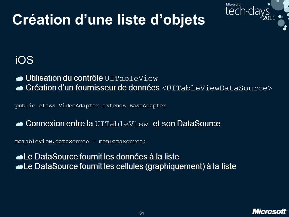 31 Création d'une liste d'objets iOS Utilisation du contrôle UITableView Création d'un fournisseur de données public class VideoAdapter extends BaseAd