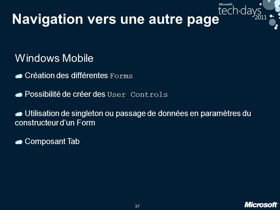 37 Navigation vers une autre page Windows Mobile Création des différentes Forms Possibilité de créer des User Controls Utilisation de singleton ou pas