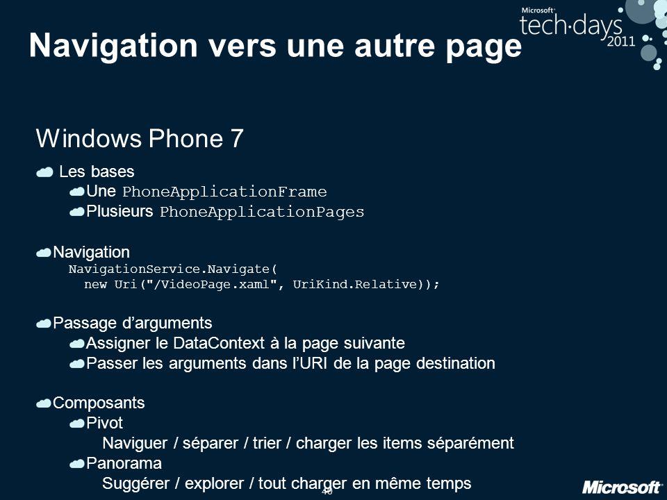 40 Navigation vers une autre page Windows Phone 7 Les bases Une PhoneApplicationFrame Plusieurs PhoneApplicationPages Navigation NavigationService.Nav