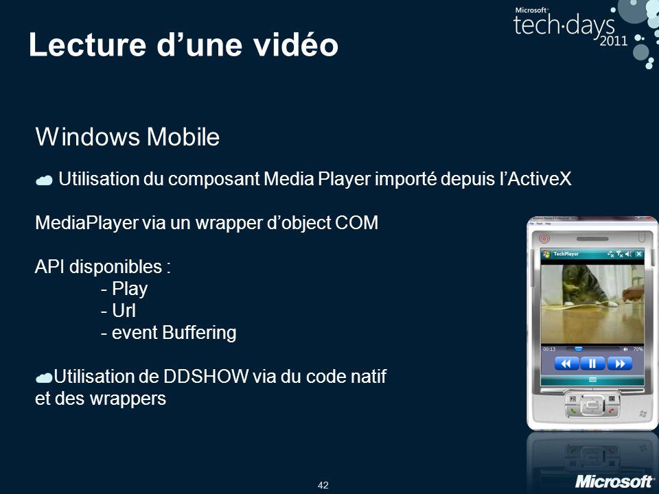 42 Lecture d'une vidéo Windows Mobile Utilisation du composant Media Player importé depuis l'ActiveX MediaPlayer via un wrapper d'object COM API dispo