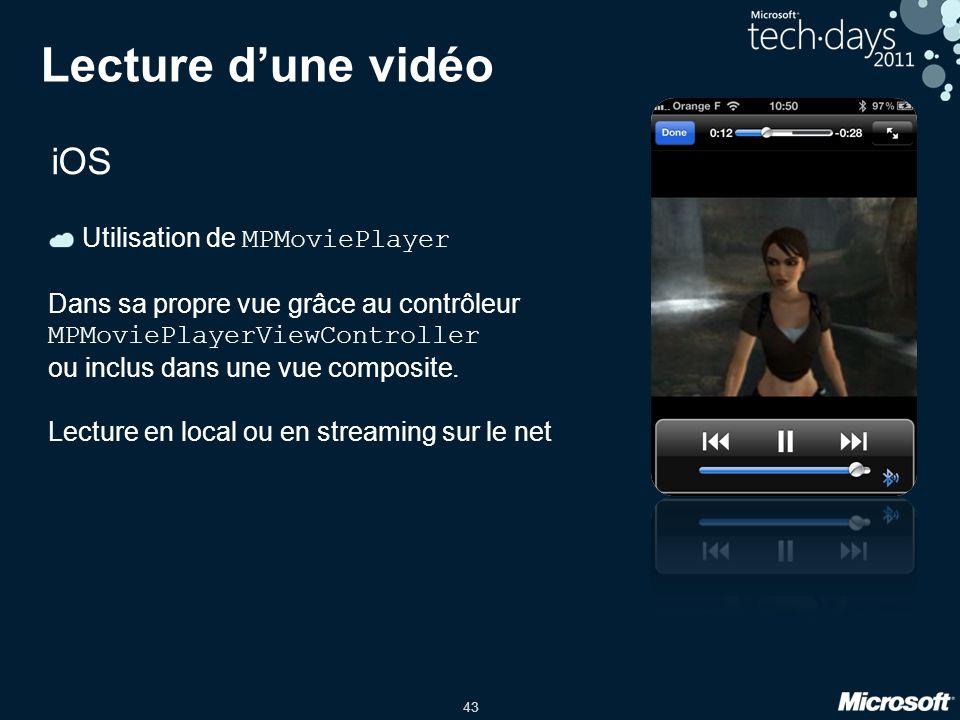 43 Lecture d'une vidéo iOS Utilisation de MPMoviePlayer Dans sa propre vue grâce au contrôleur MPMoviePlayerViewController ou inclus dans une vue comp