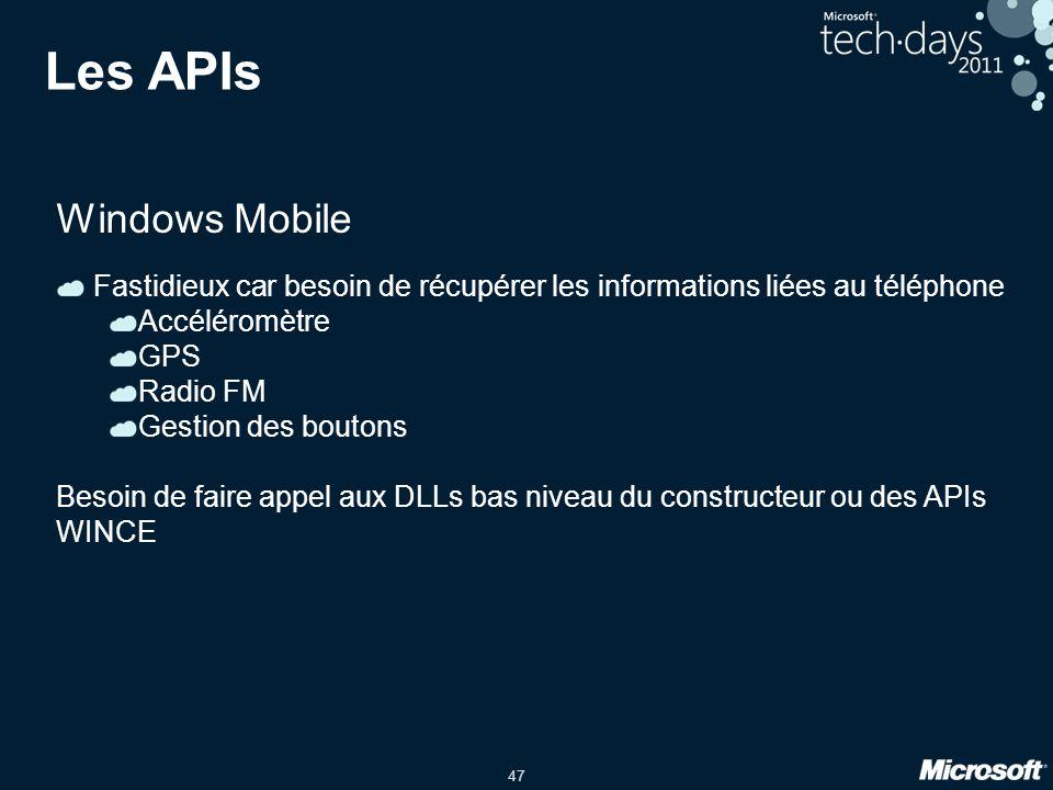 47 Les APIs Windows Mobile Fastidieux car besoin de récupérer les informations liées au téléphone Accéléromètre GPS Radio FM Gestion des boutons Besoi