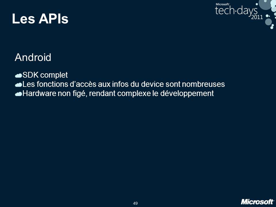 49 Les APIs Android SDK complet Les fonctions d'accès aux infos du device sont nombreuses Hardware non figé, rendant complexe le développement