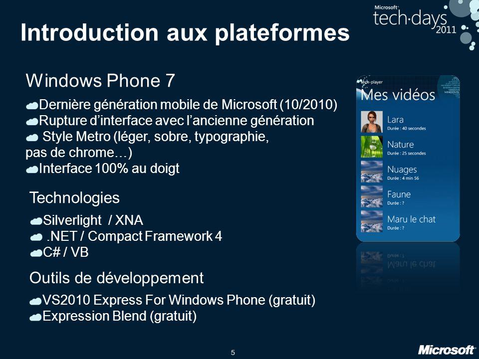 6 Introduction aux plateformes Windows Mobile 6.X Ancienne génération mobile de Microsoft Interface au doigt si développement de composants adaptés SDK Windows Mobile 6.5 WinForms.NET / Compact Framework 3.5 C# / VB / code natif (C++) Technologies VS2008 Pro (payant) Outils de développement