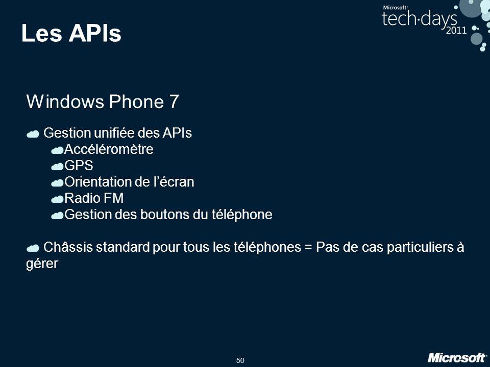 50 Les APIs Windows Phone 7 Gestion unifiée des APIs Accéléromètre GPS Orientation de l'écran Radio FM Gestion des boutons du téléphone Châssis standa