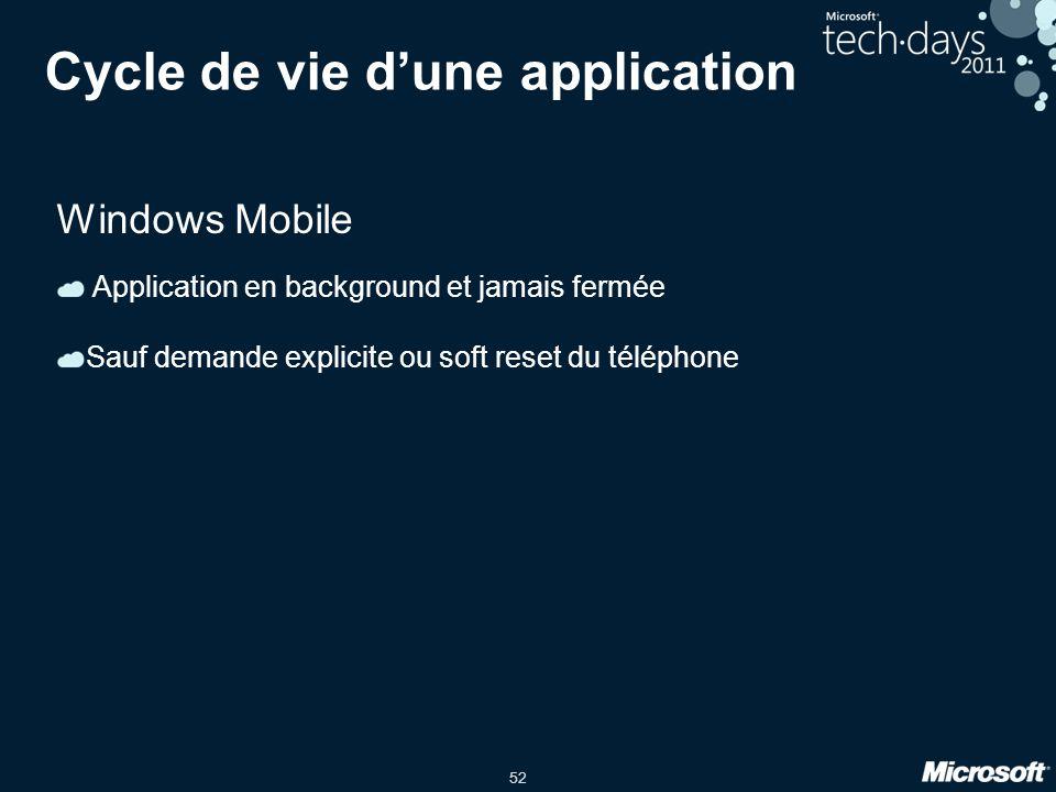 52 Cycle de vie d'une application Windows Mobile Application en background et jamais fermée Sauf demande explicite ou soft reset du téléphone