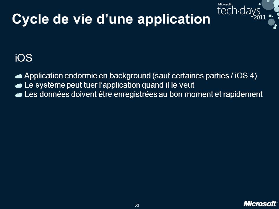 53 Cycle de vie d'une application iOS Application endormie en background (sauf certaines parties / iOS 4) Le système peut tuer l'application quand il