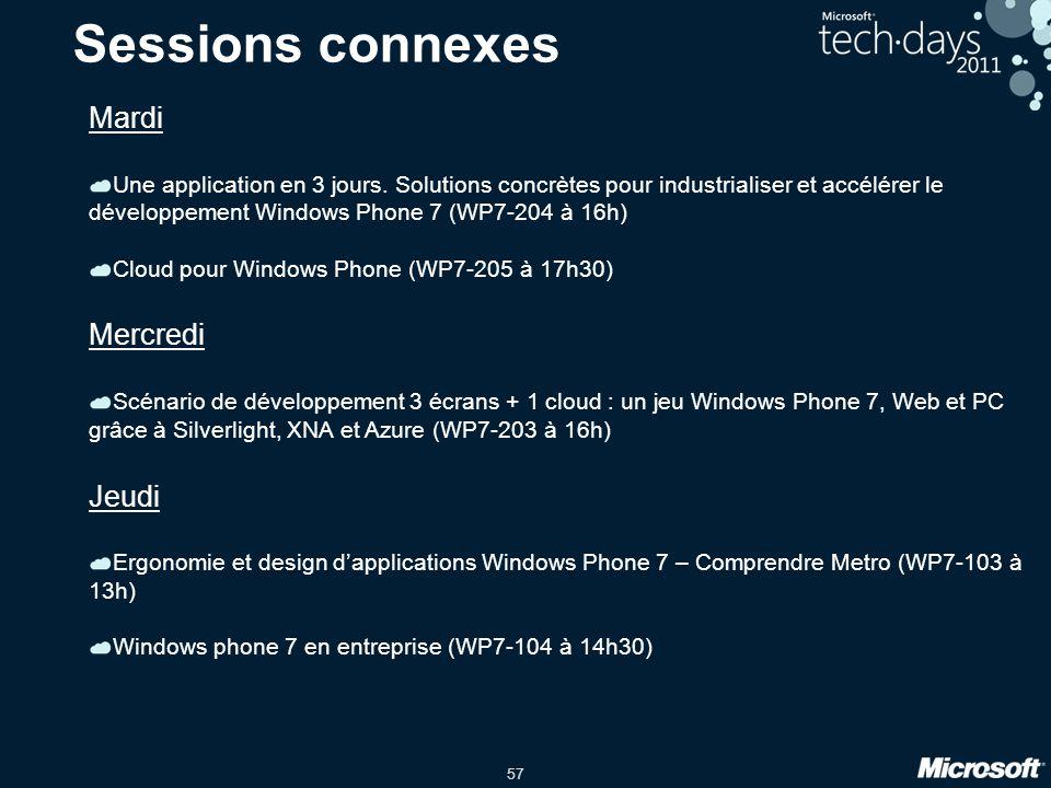 57 Sessions connexes Mardi Une application en 3 jours. Solutions concrètes pour industrialiser et accélérer le développement Windows Phone 7 (WP7-204