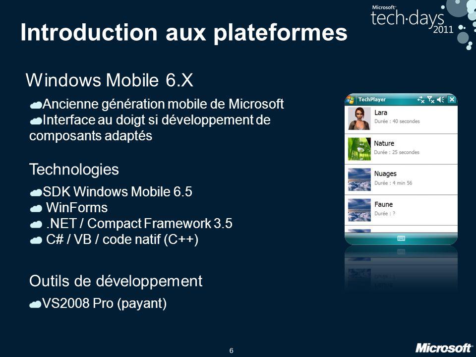 6 Introduction aux plateformes Windows Mobile 6.X Ancienne génération mobile de Microsoft Interface au doigt si développement de composants adaptés SD