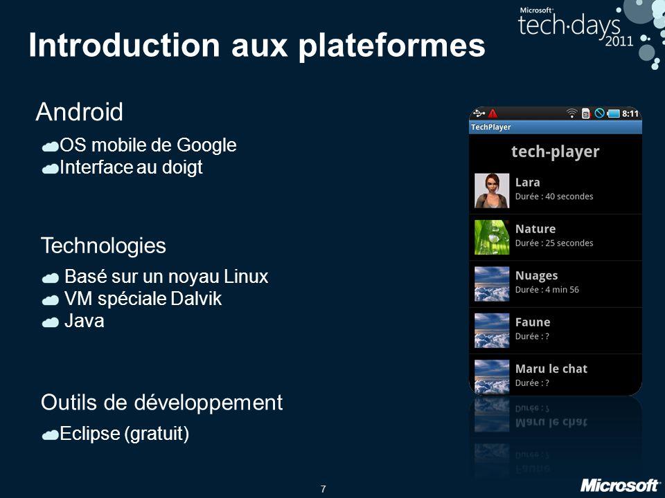 7 Introduction aux plateformes Android OS mobile de Google Interface au doigt Basé sur un noyau Linux VM spéciale Dalvik Java Technologies Eclipse (gr