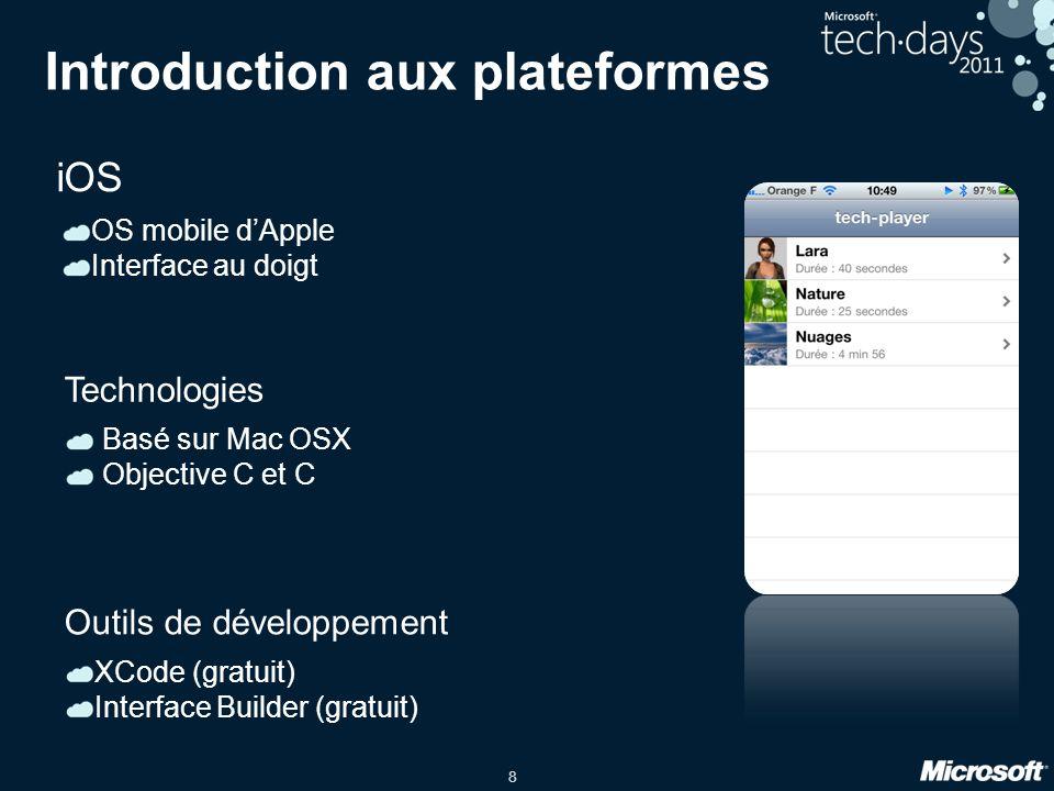 8 Introduction aux plateformes iOS OS mobile d'Apple Interface au doigt Basé sur Mac OSX Objective C et C Technologies XCode (gratuit) Interface Build