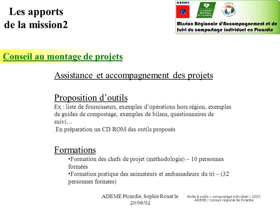 Boîte à outils « compostage individuel » 2003 ADEME / Conseil régional de Picardie ADEME Picardie, Sophie Rouat le 20/06/02 Conseil au montage de proj
