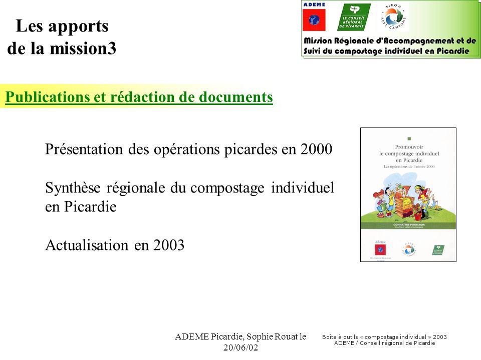 Boîte à outils « compostage individuel » 2003 ADEME / Conseil régional de Picardie ADEME Picardie, Sophie Rouat le 20/06/02 Publications et rédaction