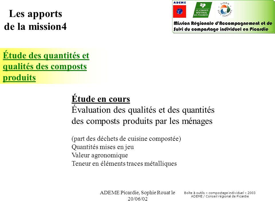 Boîte à outils « compostage individuel » 2003 ADEME / Conseil régional de Picardie ADEME Picardie, Sophie Rouat le 20/06/02 Étude des quantités et qua