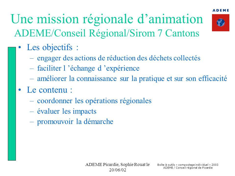 Boîte à outils « compostage individuel » 2003 ADEME / Conseil régional de Picardie ADEME Picardie, Sophie Rouat le 20/06/02 Une mission régionale d'animation ADEME/Conseil Régional/Sirom 7 Cantons •Les objectifs : –engager des actions de réduction des déchets collectés –faciliter l 'échange d 'expérience –améliorer la connaissance sur la pratique et sur son efficacité •Le contenu : –coordonner les opérations régionales –évaluer les impacts –promouvoir la démarche