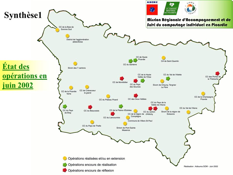 Boîte à outils « compostage individuel » 2003 ADEME / Conseil régional de Picardie ADEME Picardie, Sophie Rouat le 20/06/02 Synthèse2 Aisne : 9 (1) Oise : 11 (5) Somme : 6 (1) Évolution du nombre d'opérations