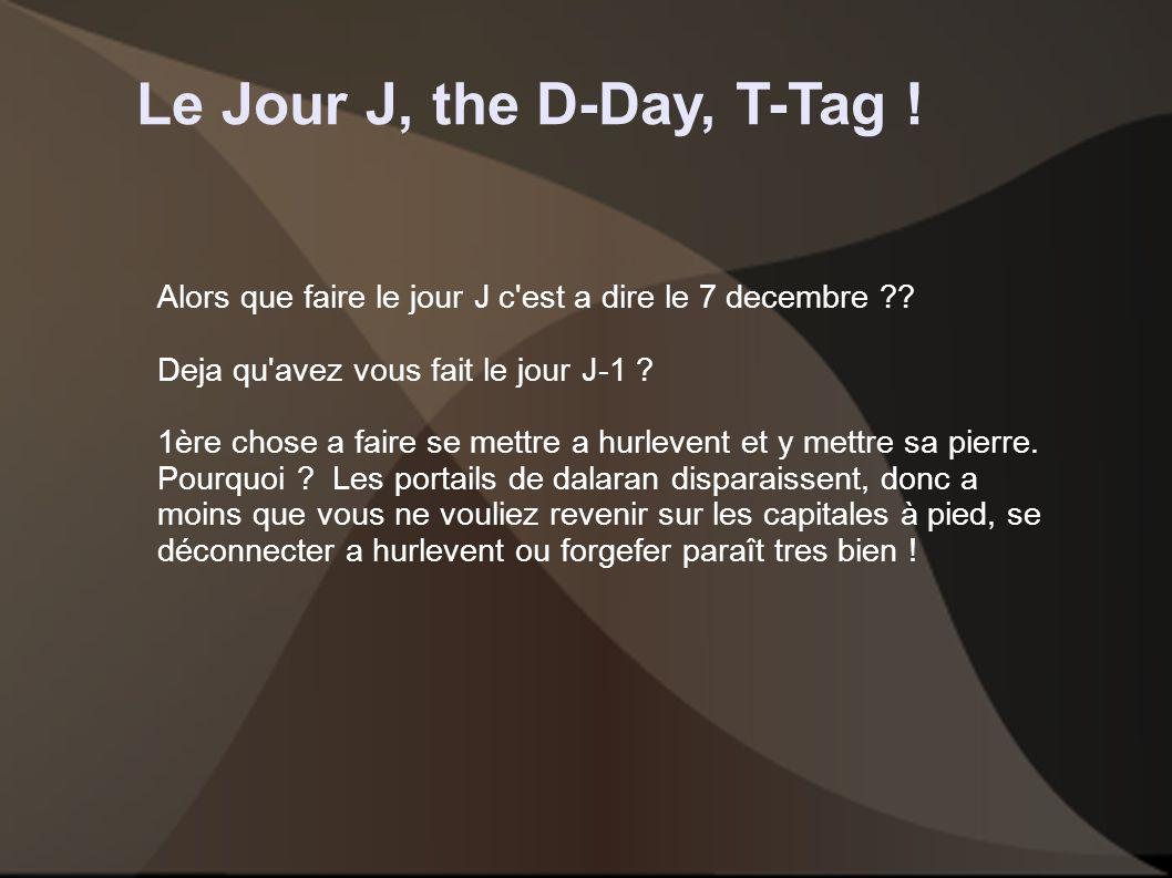 Le Jour J, the D-Day, T-Tag . Alors que faire le jour J c est a dire le 7 decembre .
