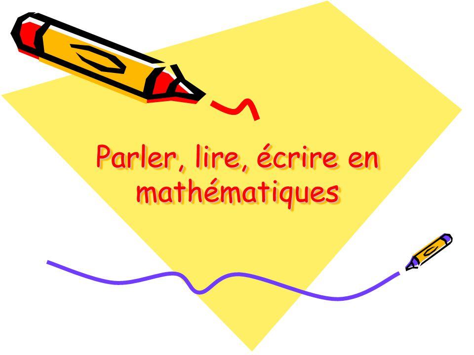 Parler, lire, écrire en mathématiques