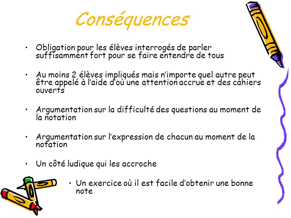 Conséquences •Obligation pour les élèves interrogés de parler suffisamment fort pour se faire entendre de tous •Au moins 2 élèves impliqués mais n'imp