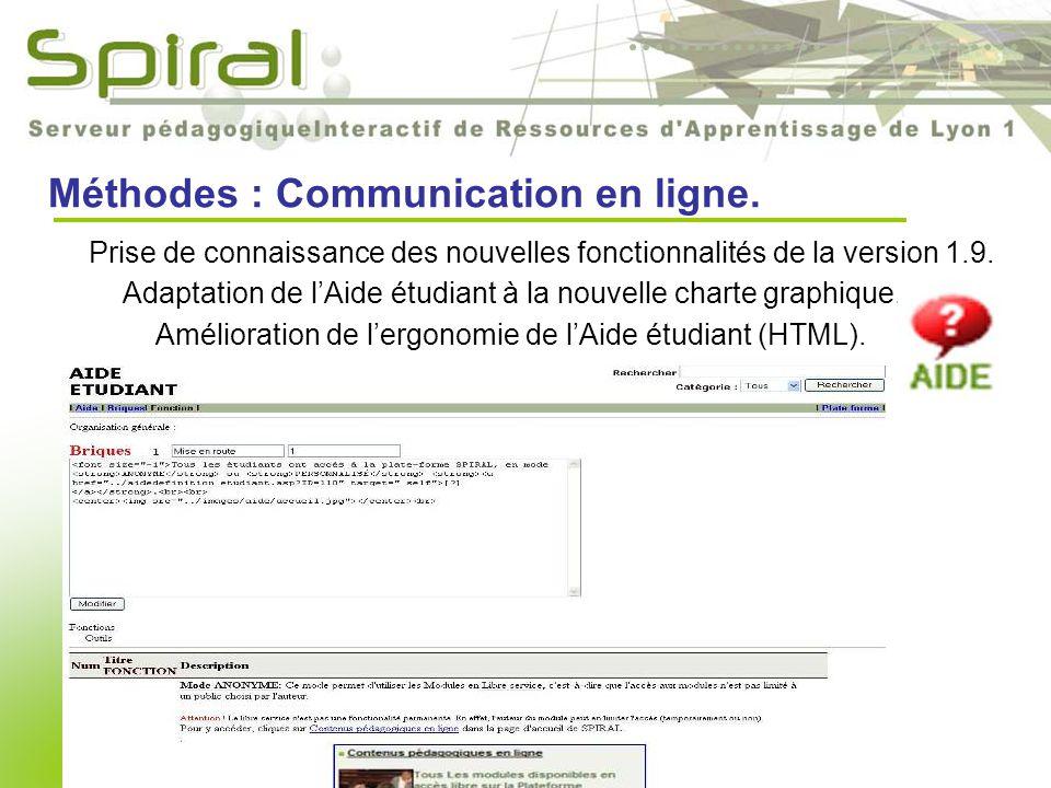 Méthodes : Communication en ligne. Amélioration de l'ergonomie de l'Aide étudiant (HTML).