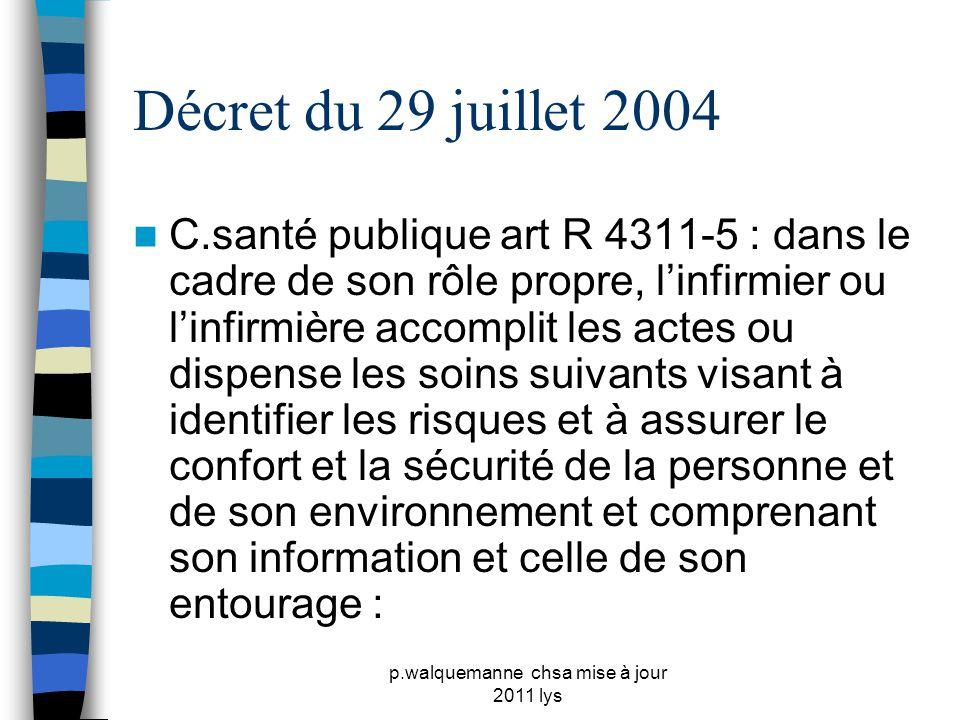 p.walquemanne chsa mise à jour 2011 lys Décret du 29 juillet 2004  C.santé publique art R 4311-5 : dans le cadre de son rôle propre, l'infirmier ou l