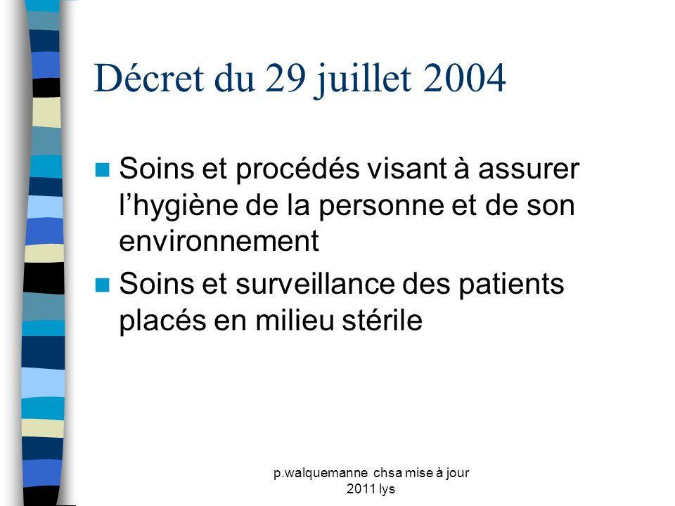 p.walquemanne chsa mise à jour 2011 lys Décret du 29 juillet 2004  Soins et procédés visant à assurer l'hygiène de la personne et de son environnemen