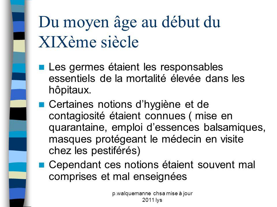 p.walquemanne chsa mise à jour 2011 lys Du moyen âge au début du XIXème siècle  Les germes étaient les responsables essentiels de la mortalité élevée