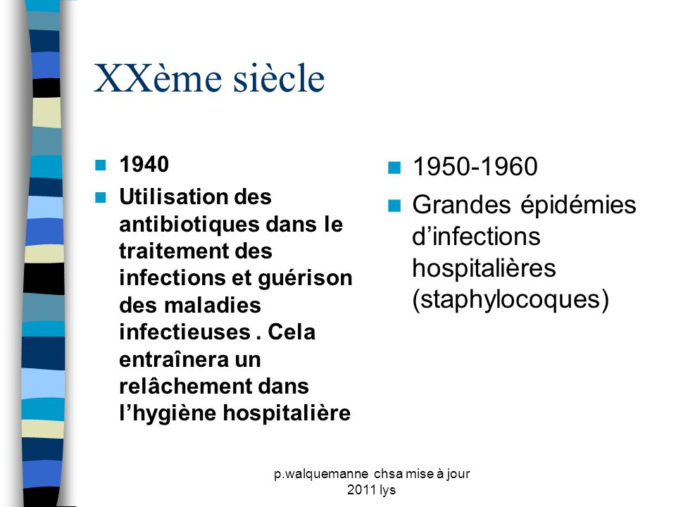 p.walquemanne chsa mise à jour 2011 lys XXème siècle  1973  Cadre réglementaire concernant la prévention des infections hospitalières (les premiers comités de lutte contre les infections sont créés)  1980-1990  Apparition du SIDA et augmentation du taux de bactéries multirésistantes