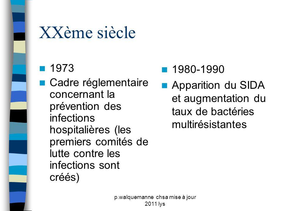p.walquemanne chsa mise à jour 2011 lys XXème siècle  1988  Création des CLIN ( comité de lutte contre les infections nosocomiales) qui sont rendus obligatoires dans les hôpitaux  1992  1er plan de lutte contre les infections nosocomiales  2005-2008  2ème programme national de lutte contre les infections nosocomiales
