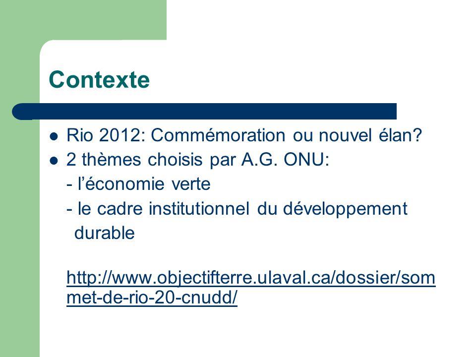 Contexte  Rio 2012: Commémoration ou nouvel élan.