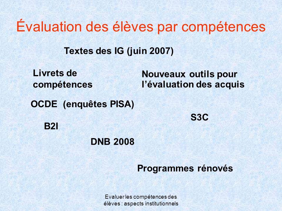 Evaluer les compétences des élèves : aspects institutionnels Évaluation des élèves par compétences Textes des IG (juin 2007) Livrets de compétences No