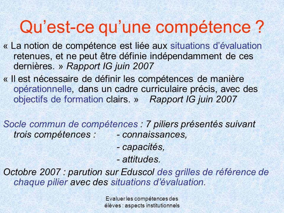 Evaluer les compétences des élèves : aspects institutionnels Qu'est-ce qu'une compétence ? « La notion de compétence est liée aux situations d'évaluat