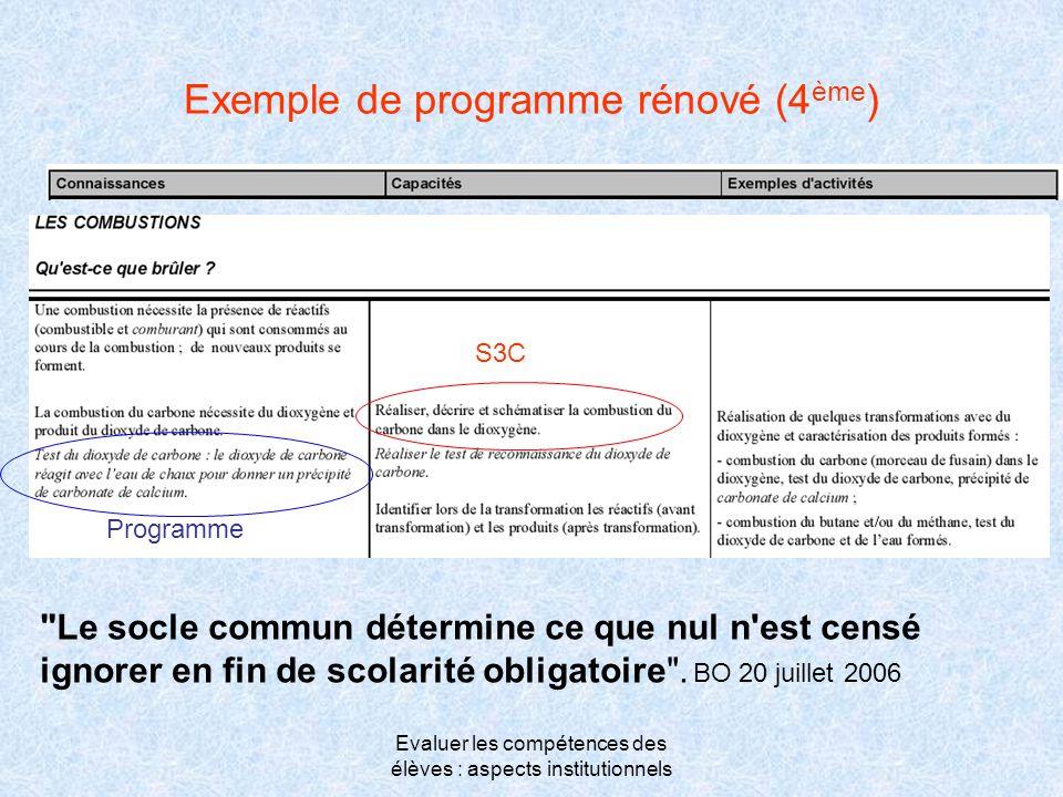 Evaluer les compétences des élèves : aspects institutionnels Exemple de programme rénové (4 ème ) S3C Programme