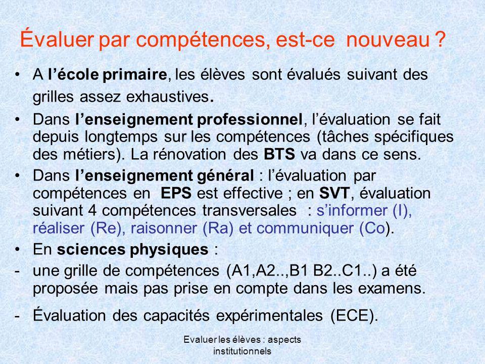 Evaluer les élèves : aspects institutionnels Évaluer par compétences, est-ce nouveau ? •A l'école primaire, les élèves sont évalués suivant des grille