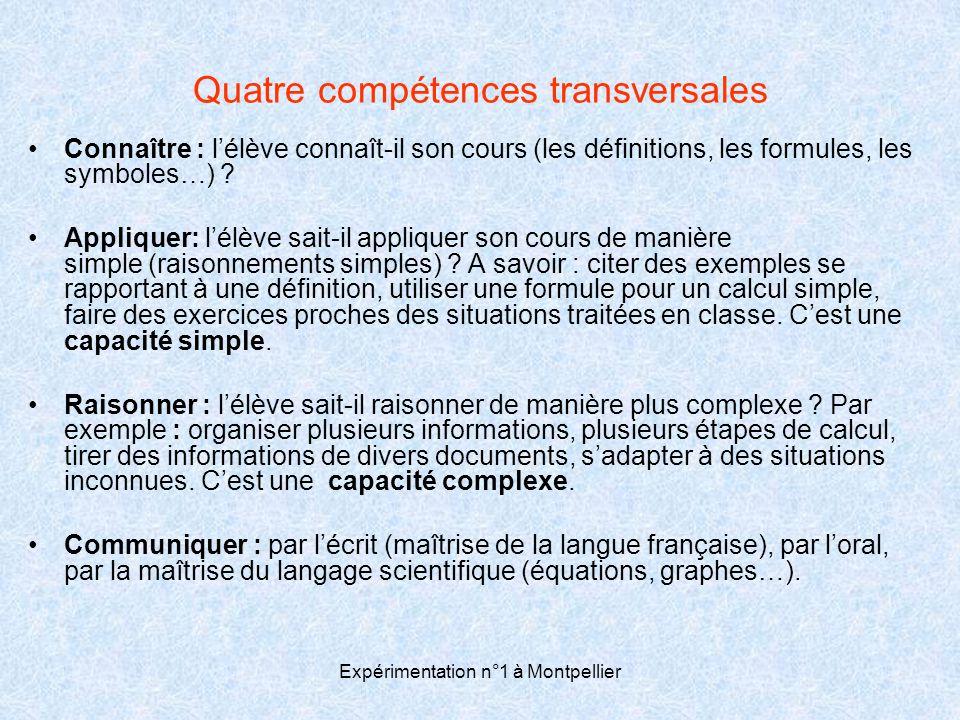 Expérimentation n°1 à Montpellier Quatre compétences transversales •Connaître : l'élève connaît-il son cours (les définitions, les formules, les symbo