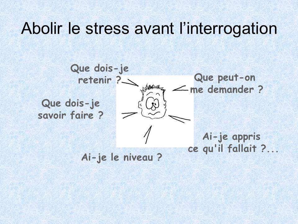 Abolir le stress avant l'interrogation Que peut-on me demander ? Que dois-je retenir ? Que dois-je savoir faire ? Ai-je le niveau ? Ai-je appris ce qu