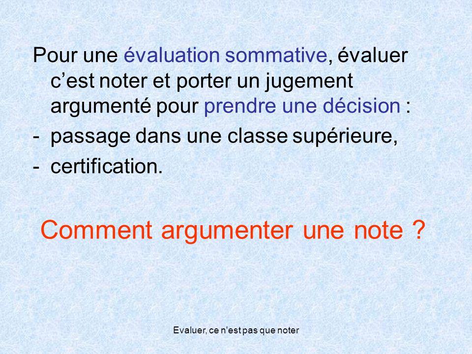 Evaluer, ce n'est pas que noter Comment argumenter une note ? Pour une évaluation sommative, évaluer c'est noter et porter un jugement argumenté pour