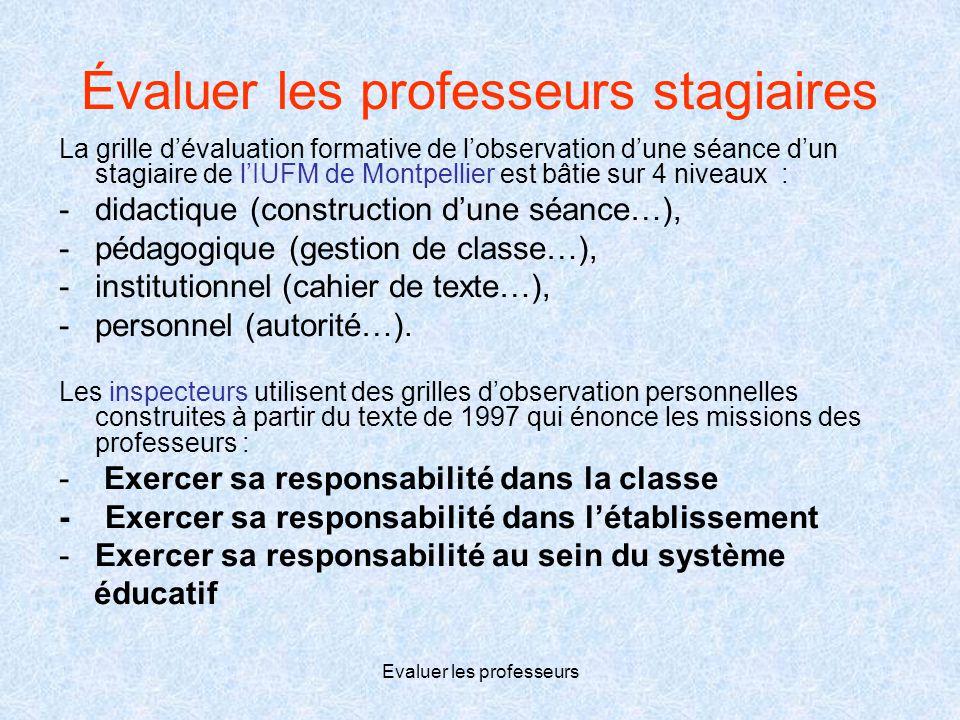 Evaluer les professeurs Évaluer les professeurs stagiaires La grille d'évaluation formative de l'observation d'une séance d'un stagiaire de l'IUFM de