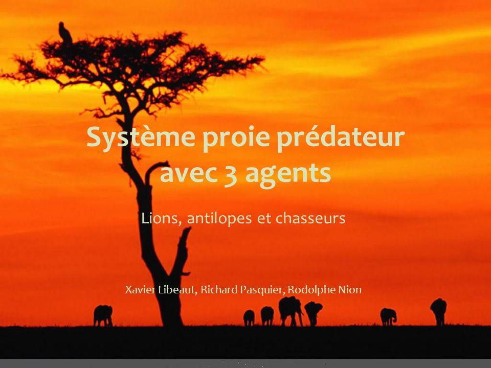 Système proie prédateur avec 3 agents Lions, antilopes et chasseurs Xavier Libeaut, Richard Pasquier, Rodolphe Nion