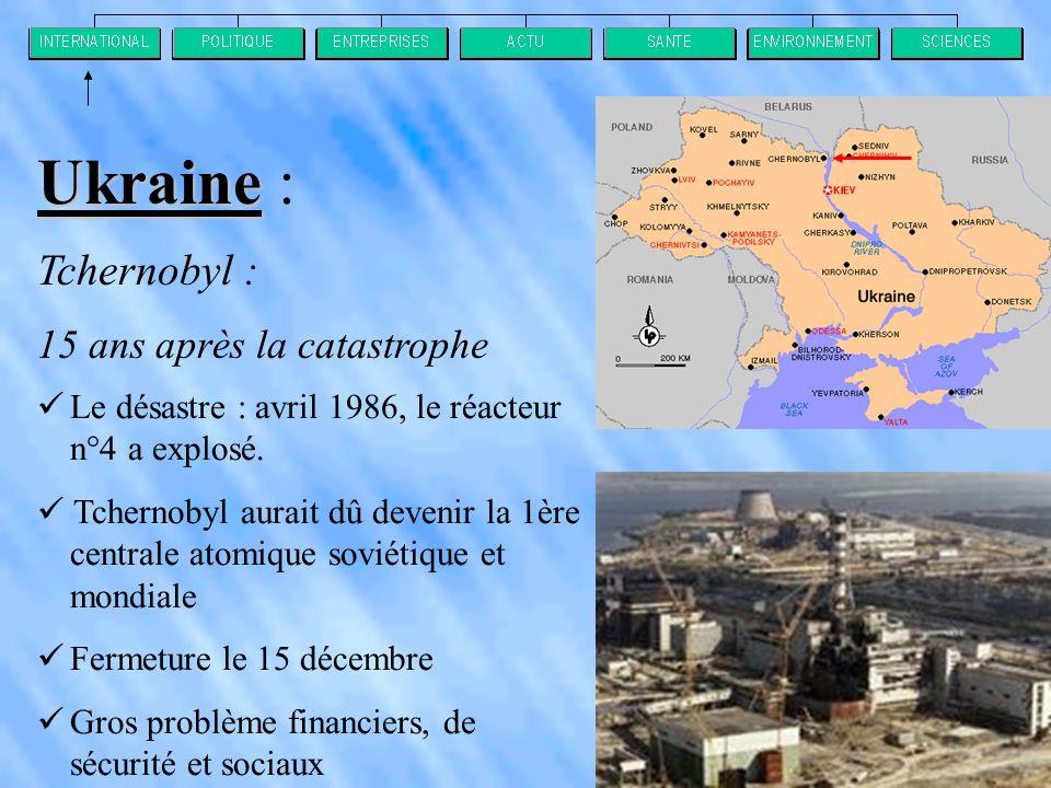 Tchernobyl : 15 ans après la catastrophe  Le désastre : avril 1986, le réacteur n°4 a explosé.
