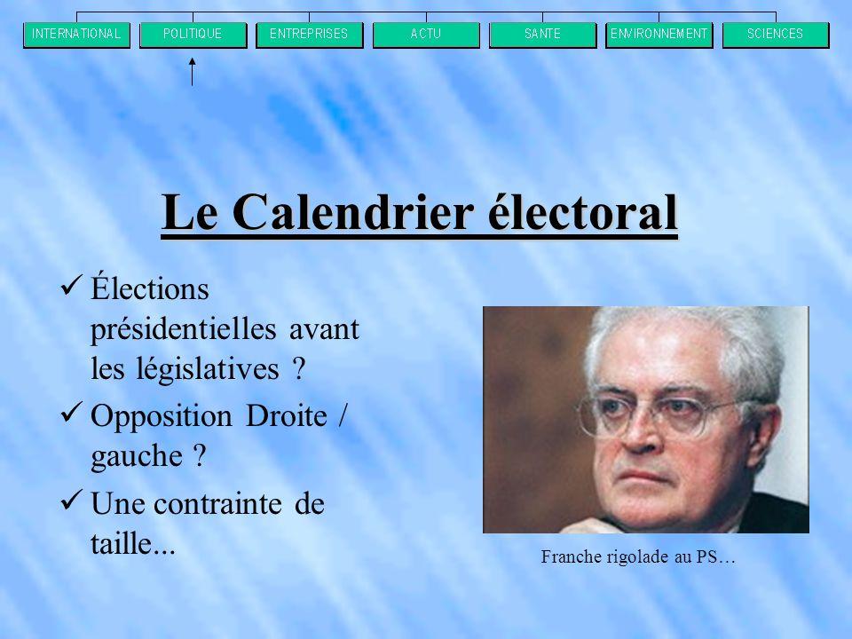 Le Calendrier électoral  Élections présidentielles avant les législatives .