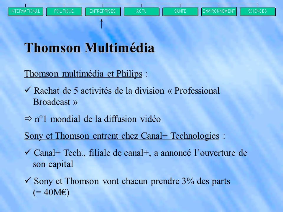 Thomson multimédia et Philips :  Rachat de 5 activités de la division « Professional Broadcast »  n°1 mondial de la diffusion vidéo Sony et Thomson entrent chez Canal+ Technologies :  Canal+ Tech., filiale de canal+, a annoncé l'ouverture de son capital  Sony et Thomson vont chacun prendre 3% des parts (= 40M€) Thomson Multimédia