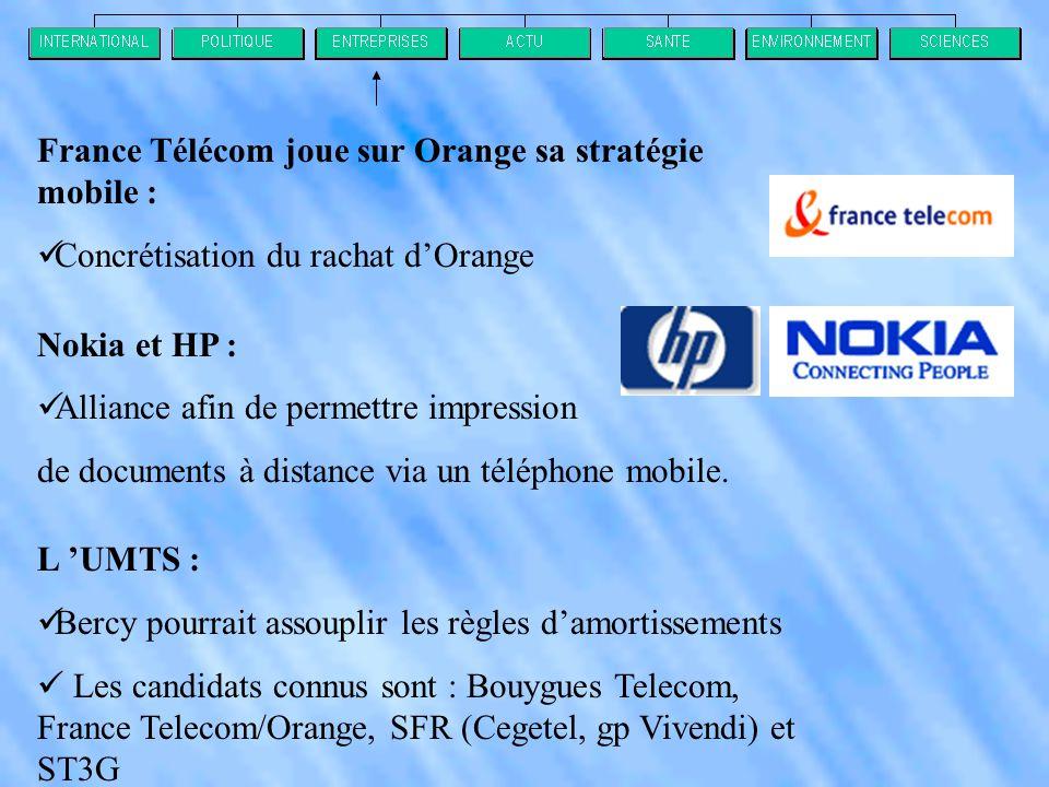 France Télécom joue sur Orange sa stratégie mobile :  Concrétisation du rachat d'Orange Nokia et HP :  Alliance afin de permettre impression de documents à distance via un téléphone mobile.