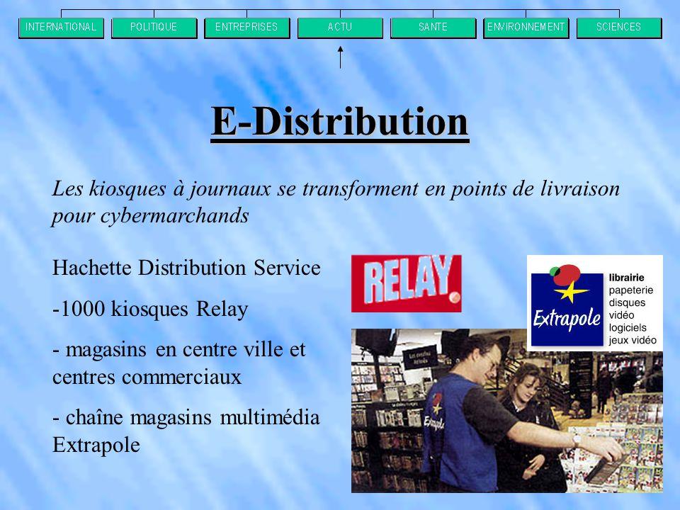 E-Distribution Les kiosques à journaux se transforment en points de livraison pour cybermarchands Hachette Distribution Service -1000 kiosques Relay - magasins en centre ville et centres commerciaux - chaîne magasins multimédia Extrapole