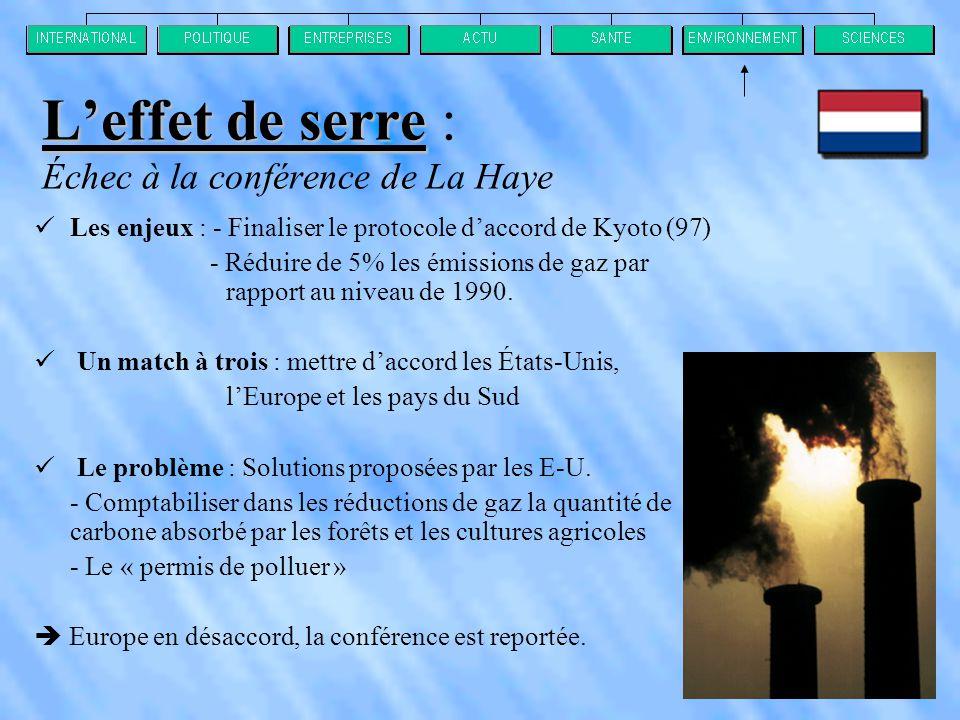 L'effet de serre L'effet de serre : Échec à la conférence de La Haye  Les enjeux : - Finaliser le protocole d'accord de Kyoto (97) - Réduire de 5% les émissions de gaz par rapport au niveau de 1990.