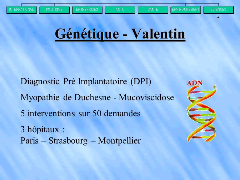 Génétique - Valentin Diagnostic Pré Implantatoire (DPI) Myopathie de Duchesne - Mucoviscidose 5 interventions sur 50 demandes 3 hôpitaux : Paris – Strasbourg – Montpellier