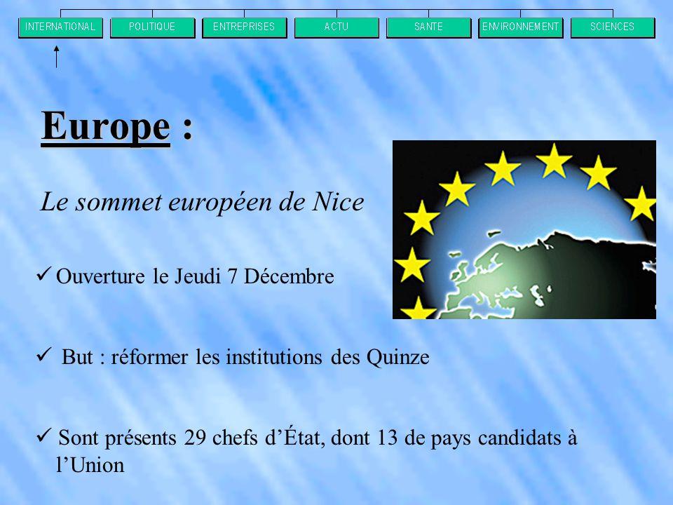 Europe : Le sommet européen de Nice  Ouverture le Jeudi 7 Décembre  But : réformer les institutions des Quinze  Sont présents 29 chefs d'État, dont 13 de pays candidats à l'Union